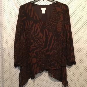 Brown Animal Print Embellished Long Sleeve Blouse
